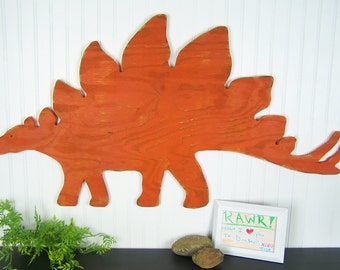 Dinosaur Decor Stegosaurus Orange Dinosaur Wall Art Rustic Wood Decor Dinosaur Sign Kids Bedroom Decor Childrens Room Dinosaur Nursery