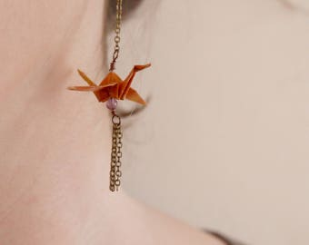 Origami birds Earrings - Orange & Amethyst