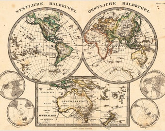 Antique Map Of Two Hemispheres Poster Includes East, West & Australia 24x36