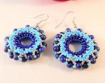 Blue Beadwork Jewelry Womans Gemstone Earrings, Bead Jewelry for Wife, Lapis Lazuli Earrings, Sister Beadwork Gift, Seed Beadwork for Her