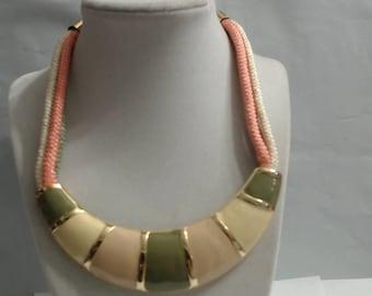 Vintage Ivory Beige Olive Green Enamel Statement Necklace