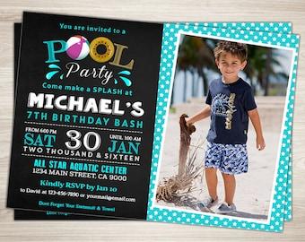 Pool Party Invitation. Boy Beach Birthday Invitation. 7th 8th 9th Swimming Pool Birthday Bash Invitation. Summer Birthday Party Photo Invite