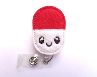Pharmacist Badge Holder Retractable - Happy Pill - white and red felt badge reel - pharmacy tech assistant RX medicine nurse