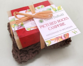 Pictured Rocks Campfire Soap and Washcloth Kit