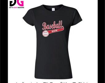 Personalized Baseball Mom Bling T-Shirt - Ladies Junior Fit