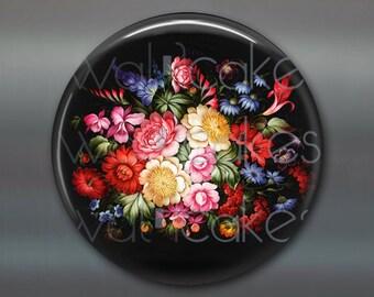"3.5"" floral fridge magnet, russian trays flower decor, kitchen decor, large magnet, decorative magnet, stocking stuffer MA-327"