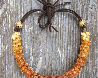 Raw amber necklace Baltic amber jewelry Amber and leather Chunky amber necklace Baltic amber necklace unique Birthday gift idea for women