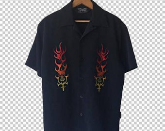 Sick Flame Skulls Guy Fieri Buttondown Shirt Men's Small // Badass Biker Hawaiian Shirt Buttondown // Flaming Skulls Hot 90s Aesthetic