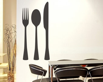 Silverware Set Vinyl Wall Art Decal size SMALL - Kitchen Decor Wall Art Decal, Utensil Wall Art, Cutlery Wall Art, Fork Knife Spoon Decals