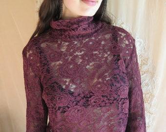 Vintage Lace Top in Wine by Selwyn/Peck Size L