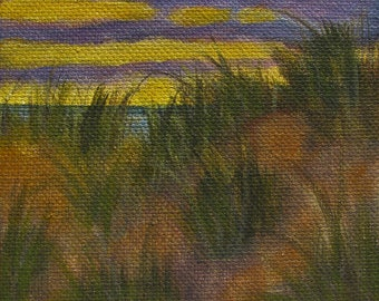 "Sunset Beach Original signed Acrylic Painting square 4""x 4""x 1.5"""