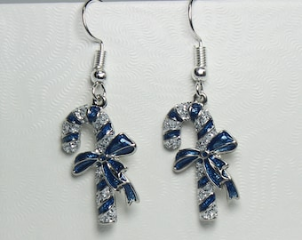 Blue and Silver Candy Cane Earrings, Christmas Earrings, Candy Cane Jewelry, Stocking Stuffer, Christmas Gift, Drop Earrings, Gifts for Her