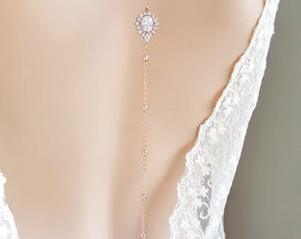 Backdrop Necklace Silver Rose Gold Bridal jewelry backless