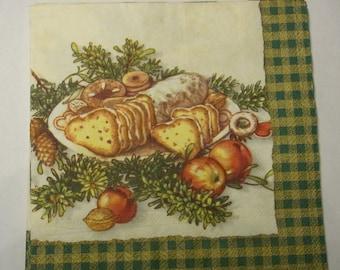 Decoupage Napkins,  vintage paper napkins, christmas stollen