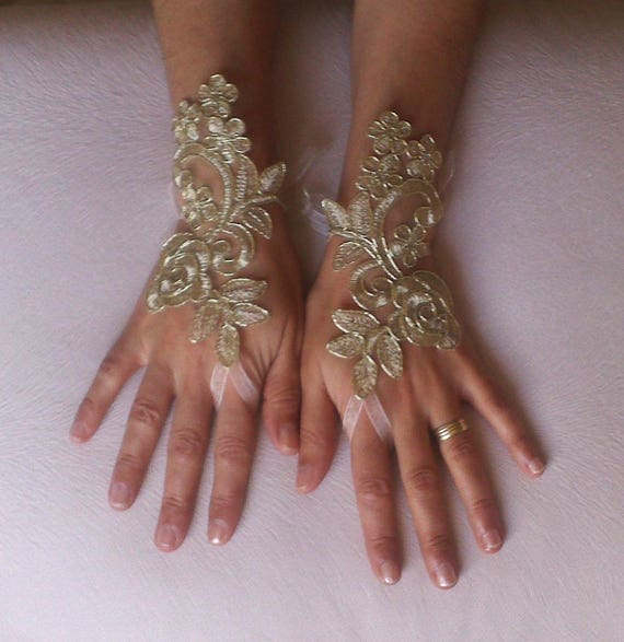 Gold Wedding gloves bridal gloves  fingerless lace bohemian accessories  gloves french lace burlesque gloves gauntlets guantes