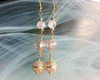 Pink earrings with filigree bead in rose gold, pink crystal and pink quartz