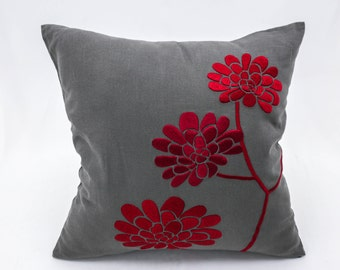 Red Pillow Cover, Embroidered Floral Pillow,  Gray Linen Pillow Red Peony, Accent Pillow, Christmas Decor, Holiday Pillow Decors