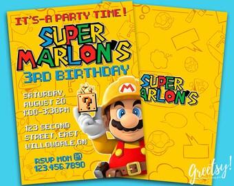 Super Mario Invitation, Super Mario Birthday, Super Mario Party, Super Mario Invites, Super Mario Printable, Super Mario Invite, Super Mario