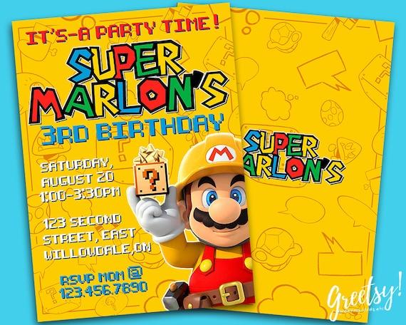 Super Mario Invitation Super Mario Birthday Super Mario