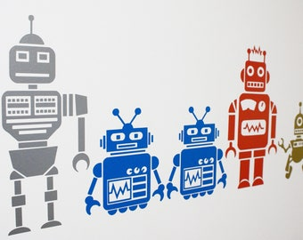 Cool Retro Robot Vinyl Wall Art Decals/Stickers - Various Colours