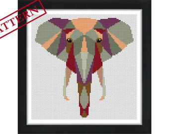 Geometric Elephant  - Low Poly Art  - Counted Cross Stitch Pattern - Instant Download