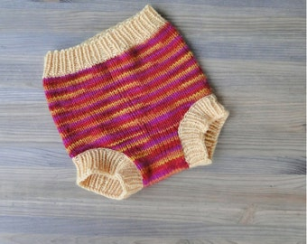 Handknitted merino wool baby cloth diaper cover\/soaker - baby wool diaper wrap ready to ship Size Medium