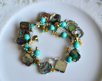 Abalone turquoise and crystal sterling silver bracelet, abalone bracelet, abalone jewelry, turquoise jewelry, turquoise bracelet