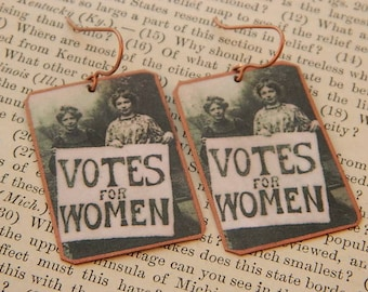 Feminist earrings Votes for Women Larger image suffragette jewelry mixed media jewelry