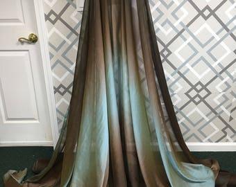 "Brown aqua Ombre chiffon fabric by yard, 60"" chiffon fabric, brown blue chiffon,  ombre chiffon"