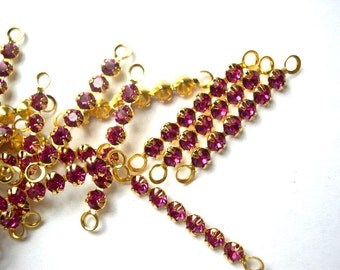 6 Vintage Swarovski crystal connector beads, 6 fuschia pink rhinestones in metal gold color setting- RARE