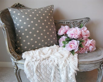 Gray Polka Dot Pillow Cover 20X20 Vintage Porch Bedroom Nursery Sofa Romantic Shabby Chic Cottage French Farmhouse Style Decor Pillow Cover