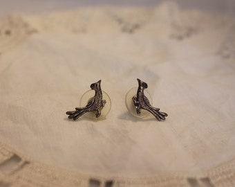 Vintage Silver Roadrunner Earrings Post Earrings