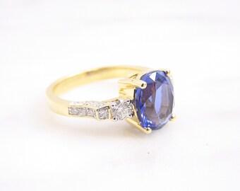 Vintage Genuine 3ct Oval Tanzanite Diamond Engagement Ring 18K Yellow Gold