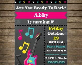 Rock Star Music Instant Download Invitation - 5x7 Invitation - Guitar Invitation - Music Invitation - Music Party - Girl - Birthday Invites