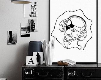dog print, french bulldog, dog art, posters, prints, wall art, bulldog, puppy, music art,