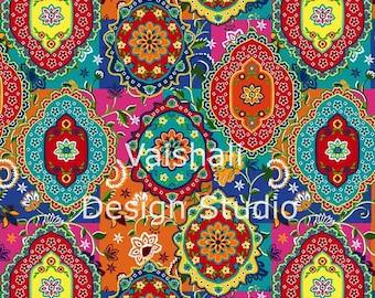 IMPRESIÓN de Bohemia, patrón multicolor, transparente, 2 hojas, impresiones digitales