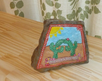 Stickin' Together Cactus Stone ~ Hand-Painted