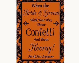 Burnt Orange Damask Confetti Personalised Wedding Sign