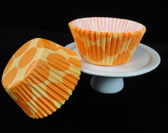 Orange with Large Dots Cupcake Liners, Cupcake Cups, Muffin Cups, Baking Cups, Orange Cupcake Liners, Cupcake Papers - Quantity 25