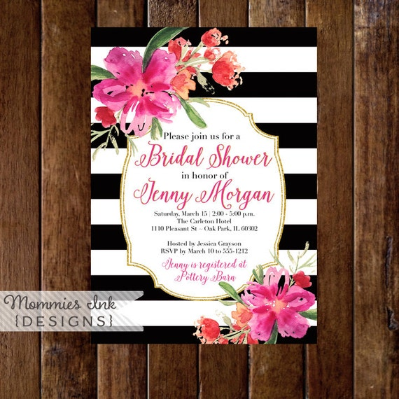 Bridal Shower Invitation Floral Black And White Stripes