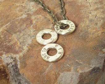 40 Caliber Three Bullet Casing Necklace