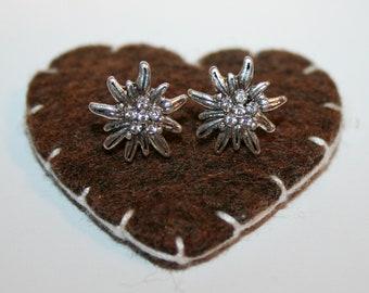 Dirndl Studs with rhinestones - Edelweiss (crystal clear)