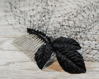 Black Birdcage Veil - Black Funeral Veil - Crystal Veil - Black Leaf Veil - Vintage Black Veil - Black Bridal Veil - Black Headpiece
