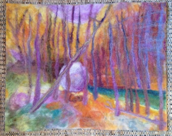 Stone, Forest, Stream Felted Picture