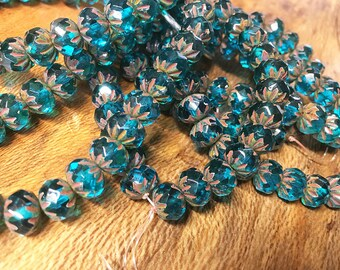 25 Aqua Blue Czech Pressed Glass Large Faceted Crullers 9mm x 6mm with Picasso Serrated Edges Rondelles 0396