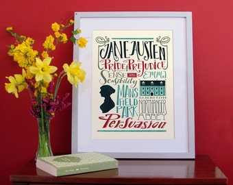 Jane Austen bigliography, hand lettering poster with all the novels (12,60 x 18,10)