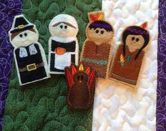 Thanksgiving Finger Puppets Embroidery Design