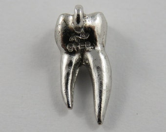 Tooth With the Roots Sterling Silver Charm of Pendant.