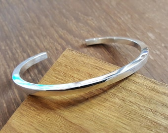 Handmade Polished Sterling Silver Solid 4mm Square Wire open Cuff Bangle Bracelet