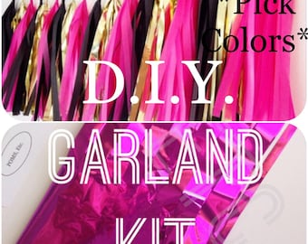 DIY tassel garland , Tassle Garland KIT - 6 feet ,16 tassels ,Tissue Paper garland- any COLORS you choose